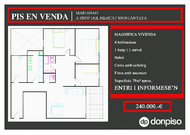Imagen 1 Inmueble 235891 - Piso en venta en Sant Boi De Llobregat / Junto Mercat Muntanyeta